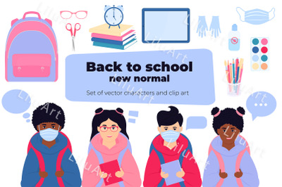 Back to school set. Characters and clip art