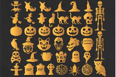 Halloween Earrings Template Bundle SVG Cut Files. Pendant SVG.