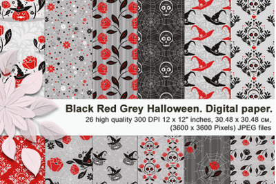 Halloween set. Black red and gray seamless digital paper.
