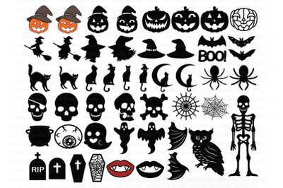 Halloween SVG, Halloween Elements SVG Cut Files, Pumpkin, Ghost, Cat.