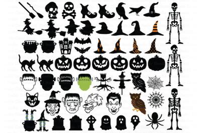 Halloween SVG, Halloween 61 Elements SVG Cut Files, Pumpkin, Monster.