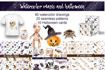 Watercolor horror, magic and Halloween