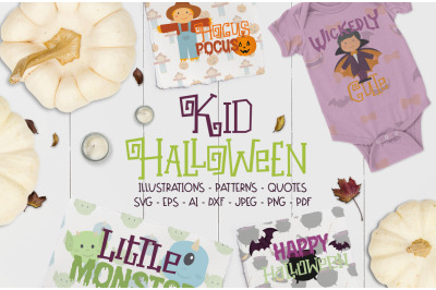 Kids Halloween Cut files pack graphics