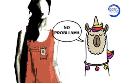 No Probllama Llama Embroidery Design