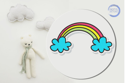 Rainbow Clouds Machine Embroidery Design