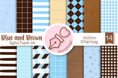 Blue and Brown Digital Paper Set