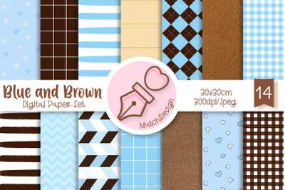 Blue and Brown Digital Paper Set