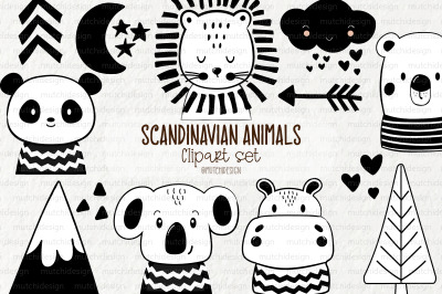 Scandinavian Animals Clipart Set