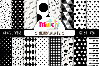 Scandinavian Animals Digital Paper Set