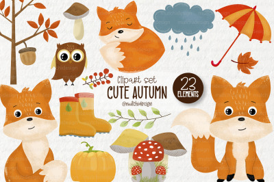 Cute Autumn/Fall Clipart Set