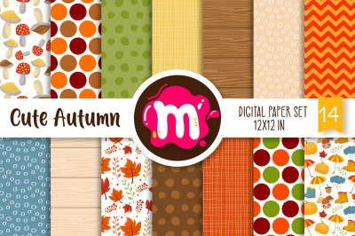 Cute Autumn/Fall Digital Paper Set