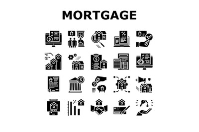 Mortgage Real Estate Collection Icons Set Vector