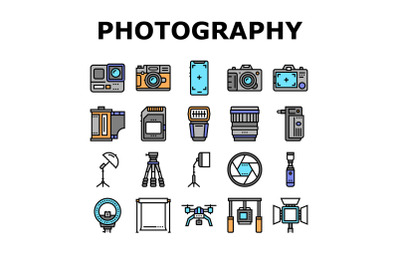 Photography Device Collection Icons Set Vector
