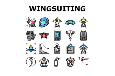 Wingsuiting Sport Collection Icons Set Vector
