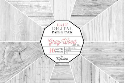 Gray Wood Digital Paper Set 01