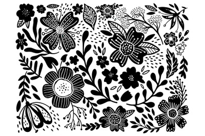Set flower ethno black in white background