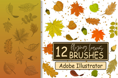Flying Leaves Brushes for Adobe Illustrator