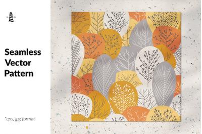 Fall trees seamless pattern