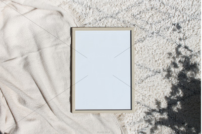 Wooden frame mockup and art template