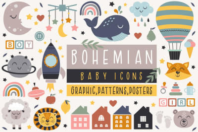Bohemian baby icons collection