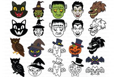 Halloween SVG, Halloween Monster Face SVG Cut Files,  Monster