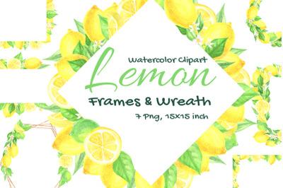 Lemon Boho Watercolor Gold Geometric Round Frame Wreath Floral Clipart