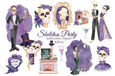 Skeleton Clipart. Halloween Party. Watercolor Skull Clipart. Halloween