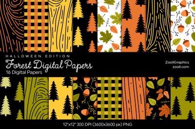 Forest Digital Papers  Halloween Edition
