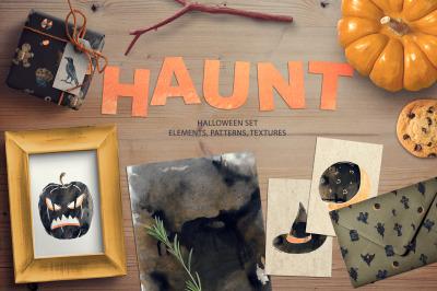 HAUNT. Halloween set.
