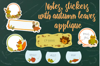 Scrapbook with autumn illustrations.