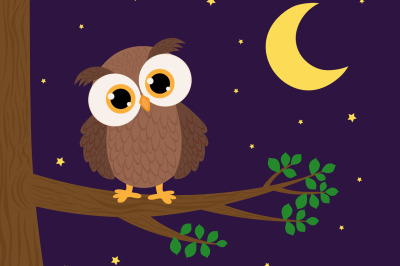 Cute owl sitting on a tree branch leaves night moon stars vector illus