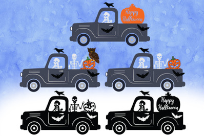 Halloween Truck SVG, Halloween Truck with Skeleton SVG Cut Files.