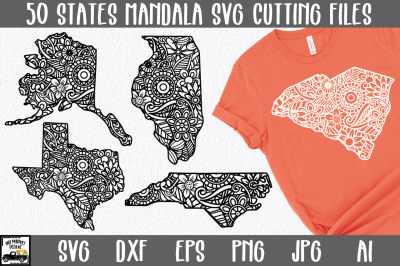 50 States SVG Bundle | Mandala States SVG Files