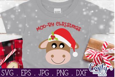 Christmas Svg, Animal Svg, Cow Svg, Moory Christmas, Merry