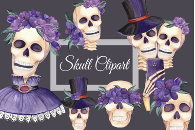 Skull Clipart. Watercolor Skulls with flowers. Selfie clipart. Hallowe