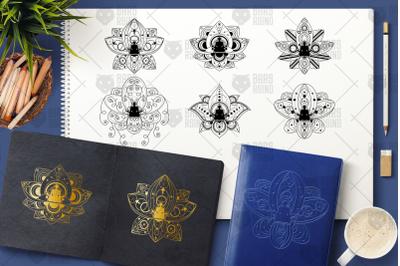 Yoga In Lotus Clipart Set