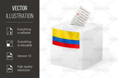 """""""Ballot box with voting paper. Colombia"""""""