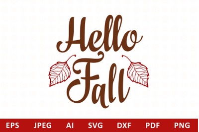 Hello Fall lettering phrase text svg
