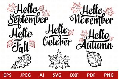 Hello Fall Lettering Mini Bundle svg