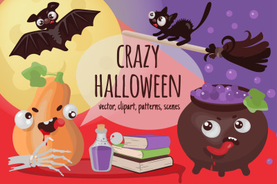 CRAZY HALLOWEEN Hand Drawn Flat Style Vector Illustration Set