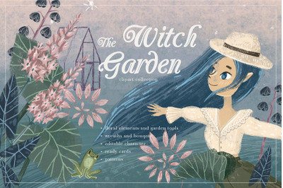 Witch Garden. Clipart collection.