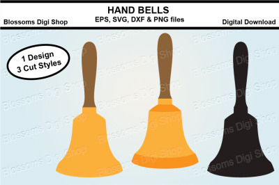 Hand Bells SVG, EPS, DXF and PNG cut files