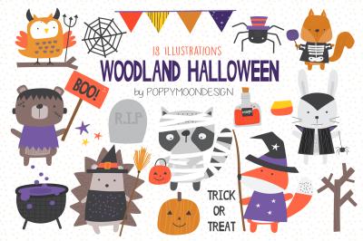 Woodland Halloween clipart