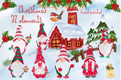 Christmas Gnomes clipart Scandinavian gnomes Christmas Png