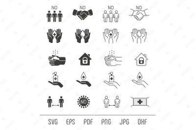 Coronavirus. Set of remedies and prevention icons.
