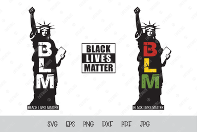 SVG BLM. Black lives matter. Statue of Liberty.