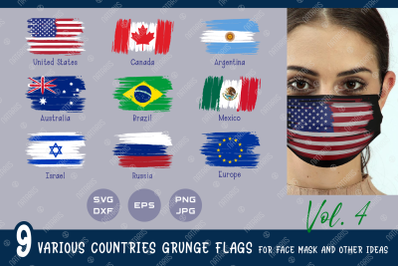 SVG Bundle. 9 Various countries grunge flags for face mask.