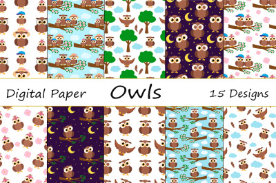 Set Seamless patterns cute owl vector illustration