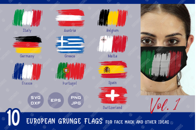 SVG Bundle. 10 European grunge flags for face mask and other ideas.