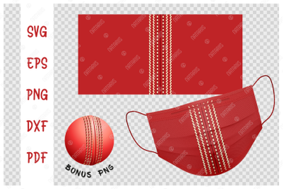 SVG Cricket ball background design for protective face mask.